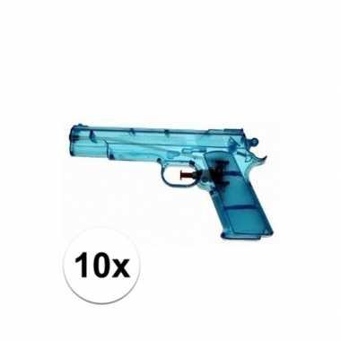 10x blauw speelgoed waterpistolen 20 cm