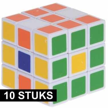 10x magische kubus puzzel spelletjes 3 5 cm speelgoed