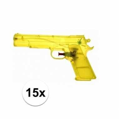 15x voordelige gele speelgoed waterpistolen 20 cm