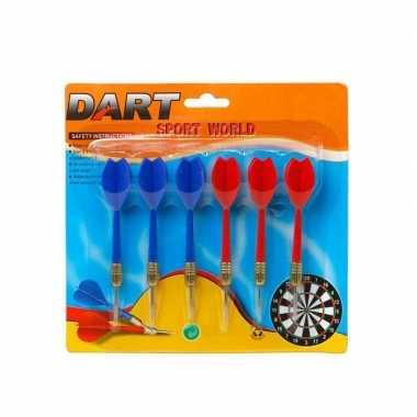 18x dartpijlen rood en blauw 11,5 cm sportief speelgoed