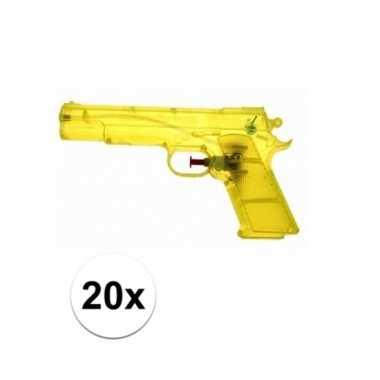 20x voordelige gele speelgoed waterpistolen 20 cm