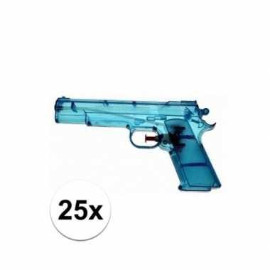 25x blauw speelgoed waterpistolen 20 cm