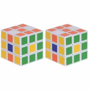 2x magische kubus puzzel spelletjes 3 5 cm speelgoed