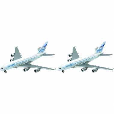 2x metalen speelgoed vliegtuigjes 14 cm