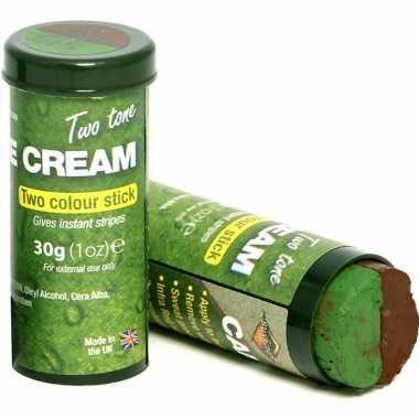 2x speelgoed bruine/groene camouflage schmink stiften voor kids