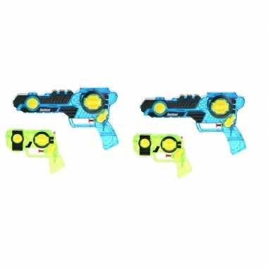 2x waterpistolen/waterpistool blauw/groen 2 - delig van 26 cm kinderspeelgoed