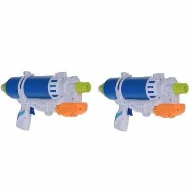 2x waterpistolen/waterpistool blauw/wit van 34 cm kinderspeelgoed