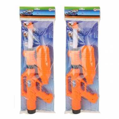 2x waterpistolen/waterpistool met petfles oranje van 52 cm kinderspeelgoed