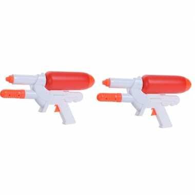 2x waterpistolen/waterpistool wit/oranje van 24 cm kinderspeelgoed