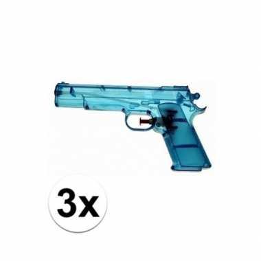 3x blauw speelgoed waterpistolen 20 cm