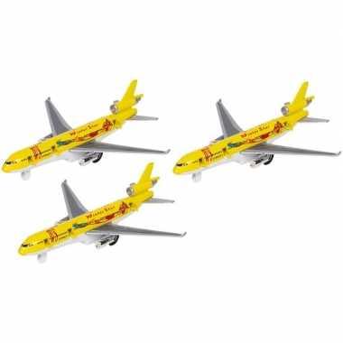 3x gele winter star speelgoed vrachtvliegtuigjes