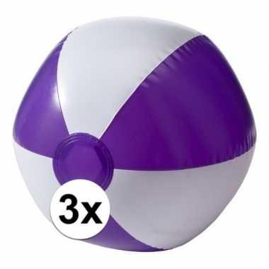 3x opblaasbare speelgoed strandballen paars