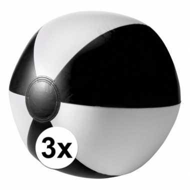3x opblaasbare speelgoed strandballen zwart
