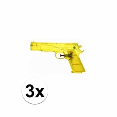 3x voordelige gele speelgoed waterpistolen 20 cm