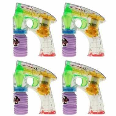 4x bellenblaas speelgoed pistool met led licht 14 cm