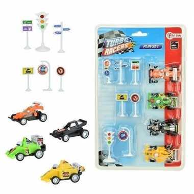 4x race auto met verkeersborden/stoplichten speelgoed set