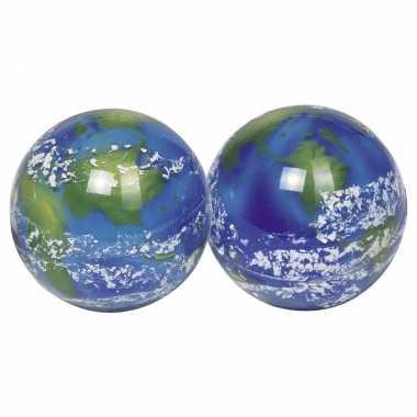 4x speelgoed wereldbol stuiterballen 5 cm