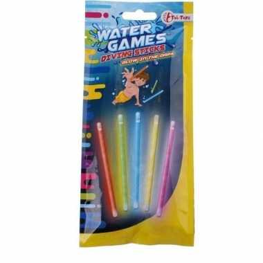 5x gekleurde glow in the dark duikstaafjes/opduik speelgoed