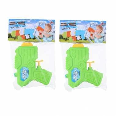 5x mini waterpistolen/waterpistool groen van 12 cm kinderspeelgoed