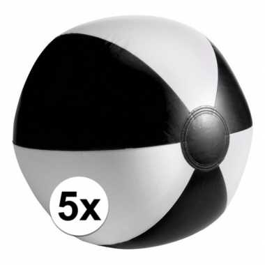 5x opblaasbare speelgoed strandballen zwart
