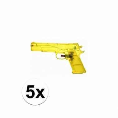 5x voordelige gele speelgoed waterpistolen 20 cm