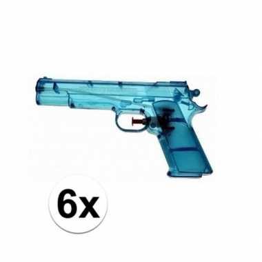 6x blauw speelgoed waterpistolen 20 cm