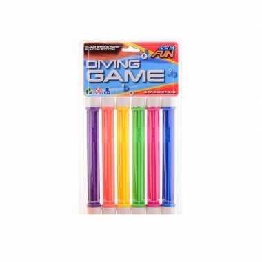 6x gekleurde duikstaafjes/opduik speelgoed 20 cm