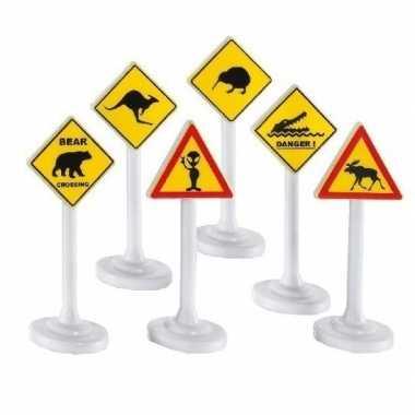 6x speelgoed waarschuwingsborden/verkeersborden 10 cm