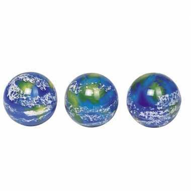 6x speelgoed wereldbol stuiterballen 5 cm