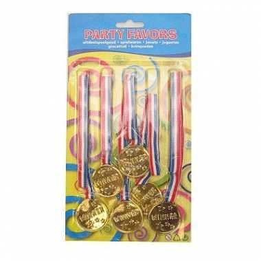 6x stuks goudkleurige speelgoed medailles