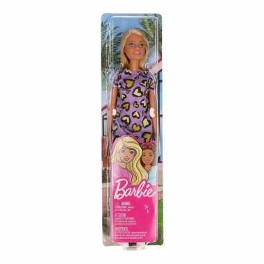 Barbie pop blondine met lilapaarse jurk speelgoed