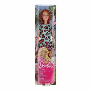 Barbie pop roodharig met blauwe jurk speelgoed