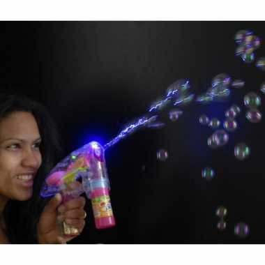 Bellenblaas speelgoed pistool met led licht 14 cm