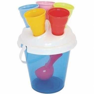 Blauwe speelgoed ijs strandemmer met zandvormen set 7 delig