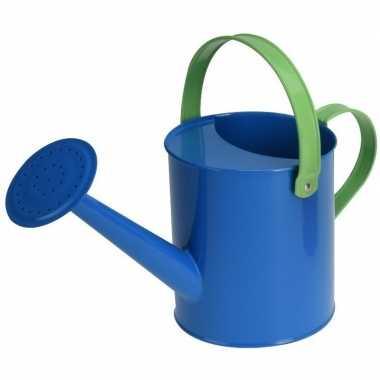 Blauwe stalen speelgoed gieter 15 cm voor kinderen