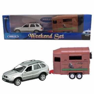 Bmw x5 met paardentrailer speelgoed modelauto 1 34