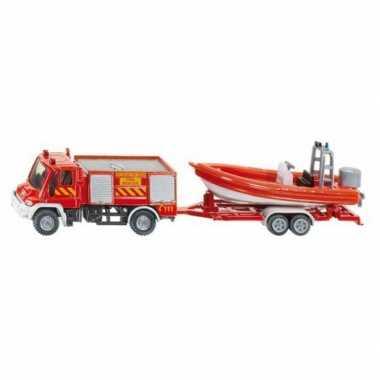 Brandweer speelgoed auto met boot