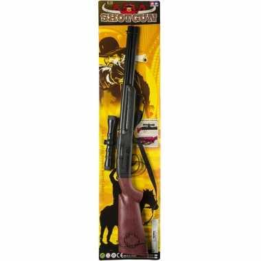 Cowboy speelgoed verkleed geweer zwart met geluid 65 cm