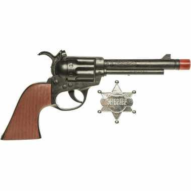 Cowboy speelgoed verkleed pistool zwart met sheriff ster 24 cm