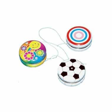 Gekleurde speelgoed jojo met smiley 3 5 cm