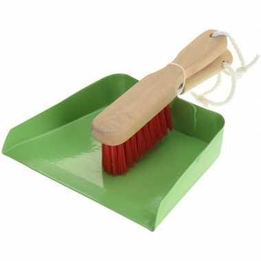 Groen stalen speelgoed stoffer en blik voor kinderen