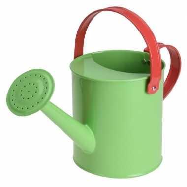 Groene stalen speelgoed gieter 15 cm voor kinderen