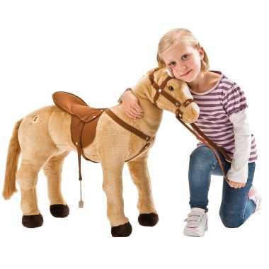 Groot speelgoed paard lichtbruin met geluid 70 cm