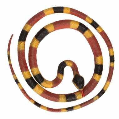 Grote rubberen speelgoed python slangen bruin/geel 137 cm