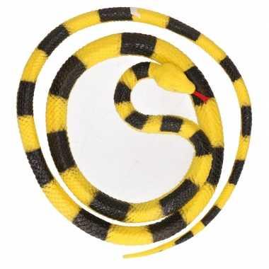 Grote rubberen speelgoed python slangen geel/zwart 137 cm