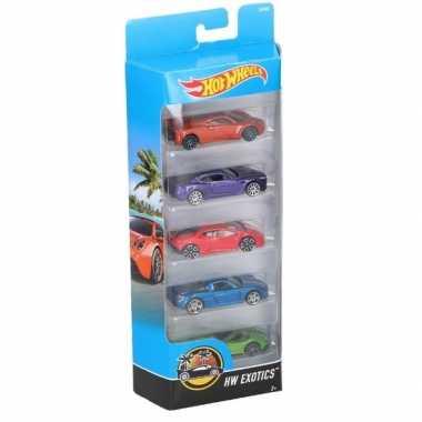 Hot wheels speelgoed luxe sportwagen set 5 stuks