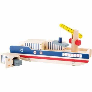 Houten container schip speelgoed set 8-delig