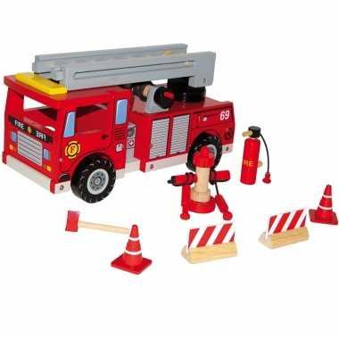 Houten speelgoed brandweerauto