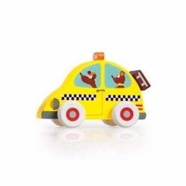 Houten speelgoed taxi wagen