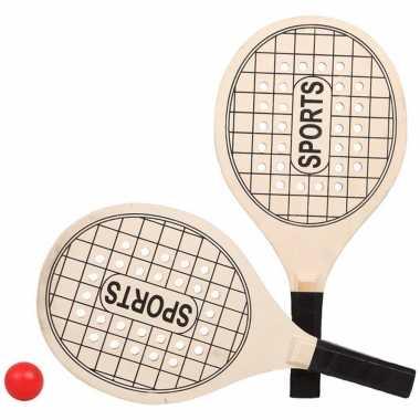 Houtkleurige beachball set met tennisracketprint buitenspeelgoed
